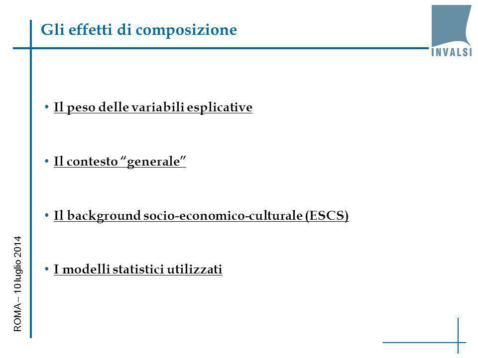 """Gli effetti di composizione Il peso delle variabili esplicative Il contesto """"generale"""" Il background socio-economico-culturale (ESCS) I modelli statis"""