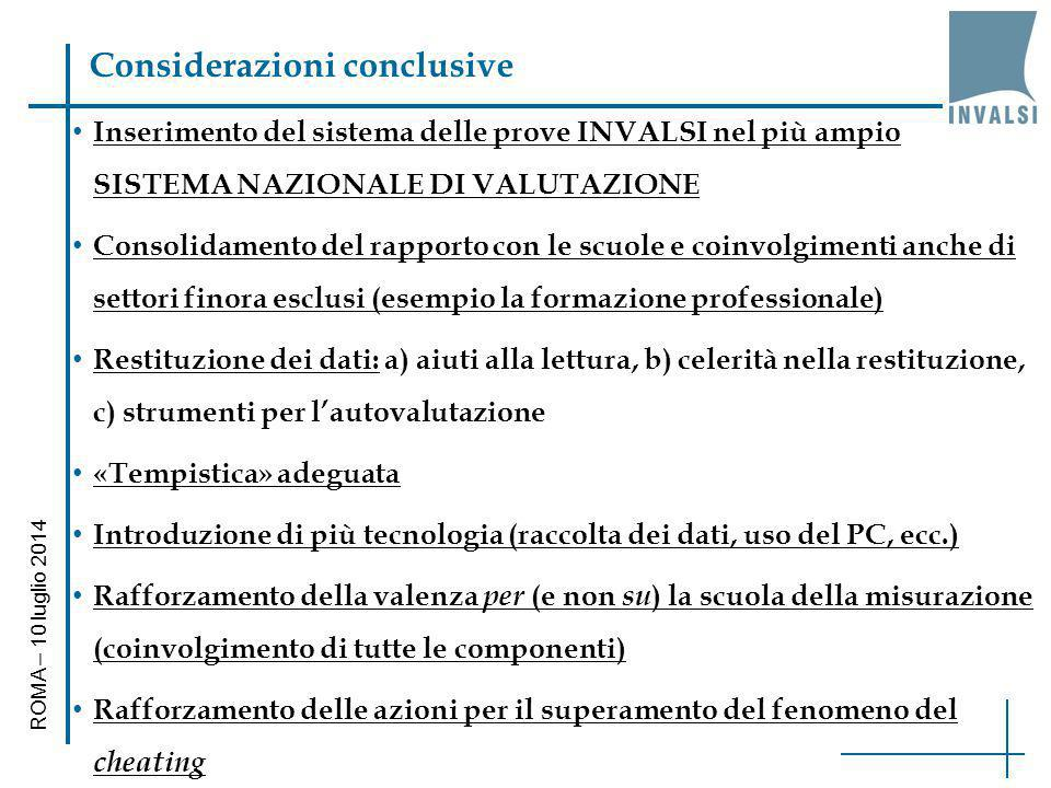 Considerazioni conclusive Inserimento del sistema delle prove INVALSI nel più ampio SISTEMA NAZIONALE DI VALUTAZIONE Consolidamento del rapporto con l