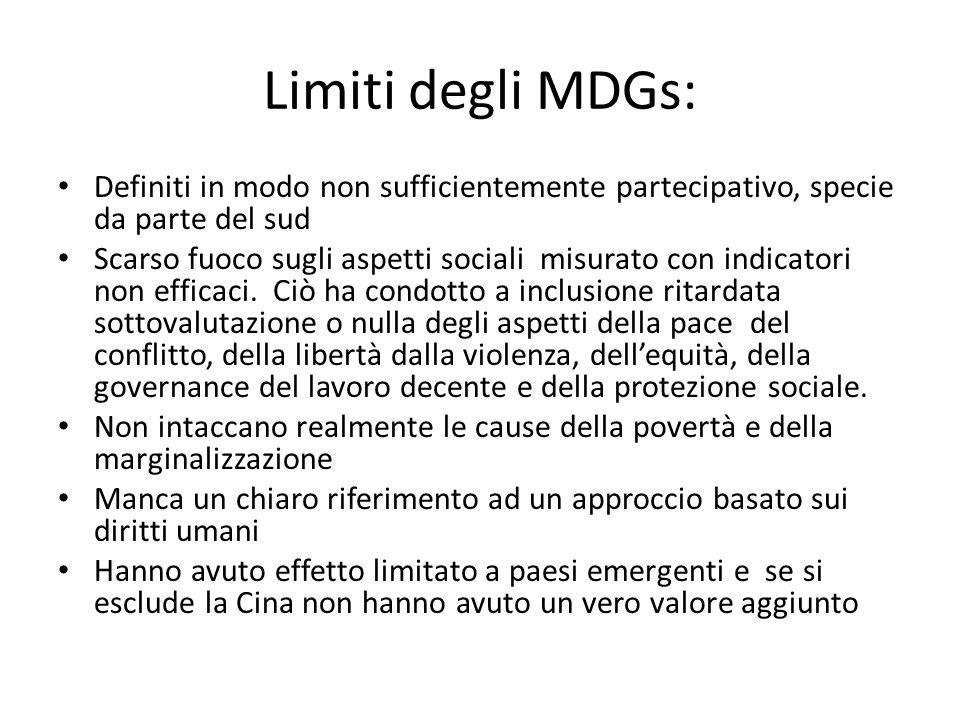 Limiti degli MDGs: Definiti in modo non sufficientemente partecipativo, specie da parte del sud Scarso fuoco sugli aspetti sociali misurato con indicatori non efficaci.