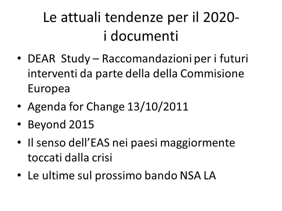 Le attuali tendenze per il 2020- i documenti DEAR Study – Raccomandazioni per i futuri interventi da parte della della Commisione Europea Agenda for C