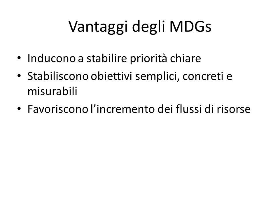 Vantaggi degli MDGs Inducono a stabilire priorità chiare Stabiliscono obiettivi semplici, concreti e misurabili Favoriscono l'incremento dei flussi di