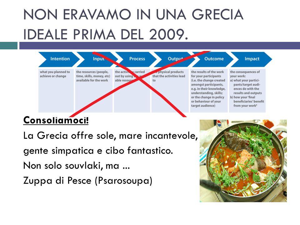NON ERAVAMO IN UNA GRECIA IDEALE PRIMA DEL 2009. Consoliamoci! La Grecia offre sole, mare incantevole, gente simpatica e cibo fantastico. Non solo sou