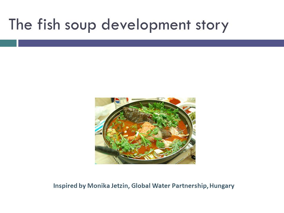Parents control Parents influence Parents contribute a bit Inputs or resources Parents get together fish, fresh vegetables, water, barley, spices, pot, source of heat Activities Mother or father carefully prepare and cook all the ingredients Output Children taste the most nourishing fish soup in the world Outcome Children consider the soup delicious and eat fish soup once a week for the rest of their lives Impact Children are healthy adults