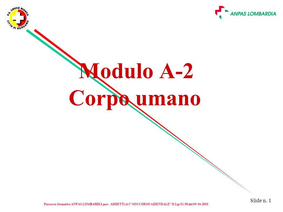 """Slide n. 1 Modulo A-2 Corpo umano Percorso formativo ANPAS LOMBARDIA per: ADDETTI al 1° SOCCORSO AZIENDALE """" D.Lgs 81/08 del 09-04-2008"""