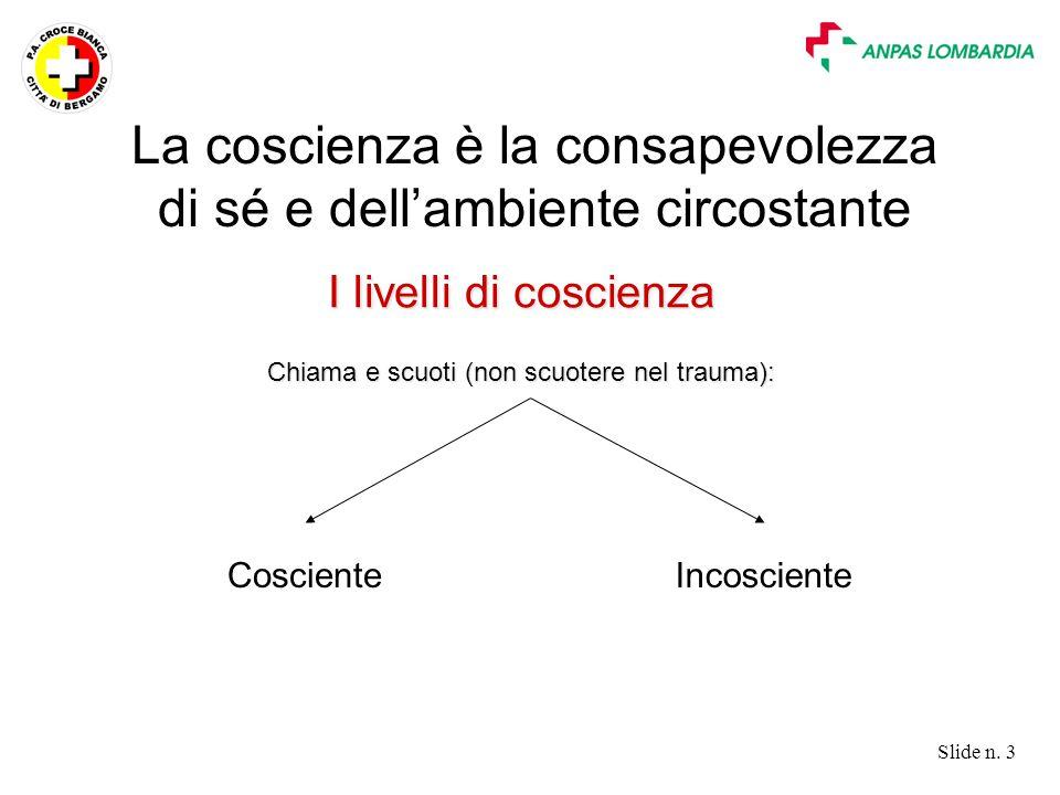 Slide n. 3 I livelli di coscienza Chiama e scuoti (non scuotere nel trauma): La coscienza è la consapevolezza di sé e dell'ambiente circostante Coscie
