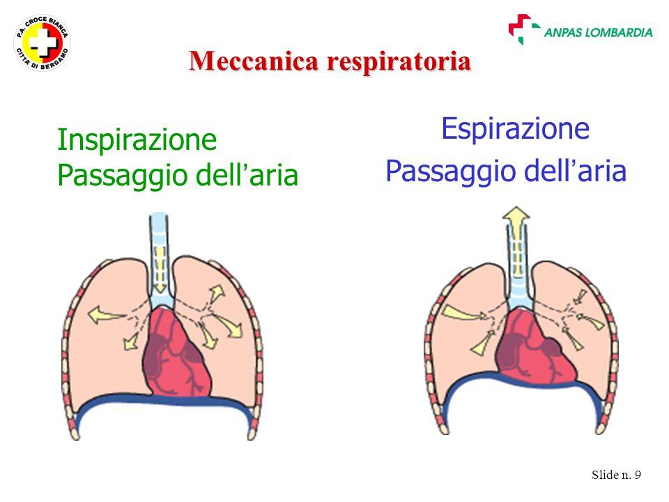Slide n. 9 Inspirazione Passaggio dell ' aria Espirazione Passaggio dell ' aria Meccanica respiratoria