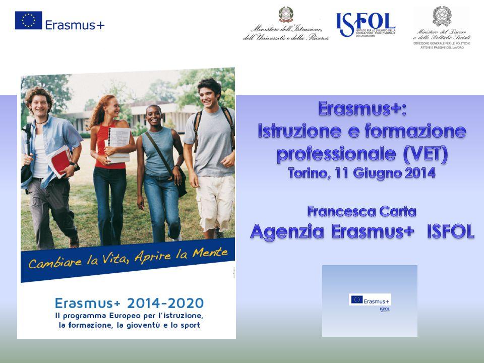 2 Dal 2007-2013 al 2014-2020 Gioventù in Azione PROGRAMMI INTERNAZIONALI PER L'ISTRUZIONE SUPERIORE Erasmus mundus, Tempus, Alfa, Edulink, Programmi bilaterali LIFELONG LEARNING PROGRAMME Comenius Erasmus Leonardo Grundtvig Trasversale Jean Monnet Programmi esistenti Un unico programma integrato per istruzione, formazione, gioventù e sport