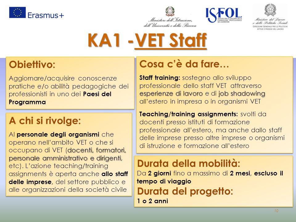 10 A chi si rivolge: docenti, formatori, personale amministrativo e dirigenti Al personale degli organismi che operano nell'ambito VET o che si occupa