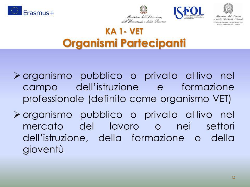 12  organismo pubblico o privato attivo nel campo dell'istruzione e formazione professionale (definito come organismo VET)  organismo pubblico o pri