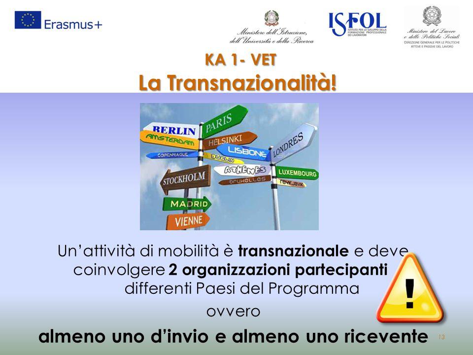 13 KA 1- VET La Transnazionalità! Un'attività di mobilità è transnazionale e deve coinvolgere 2 organizzazioni partecipanti di differenti Paesi del Pr