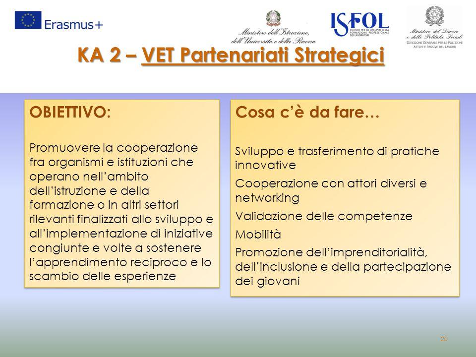 20 KA 2 – VET Partenariati Strategici OBIETTIVO: Promuovere la cooperazione fra organismi e istituzioni che operano nell'ambito dell'istruzione e dell