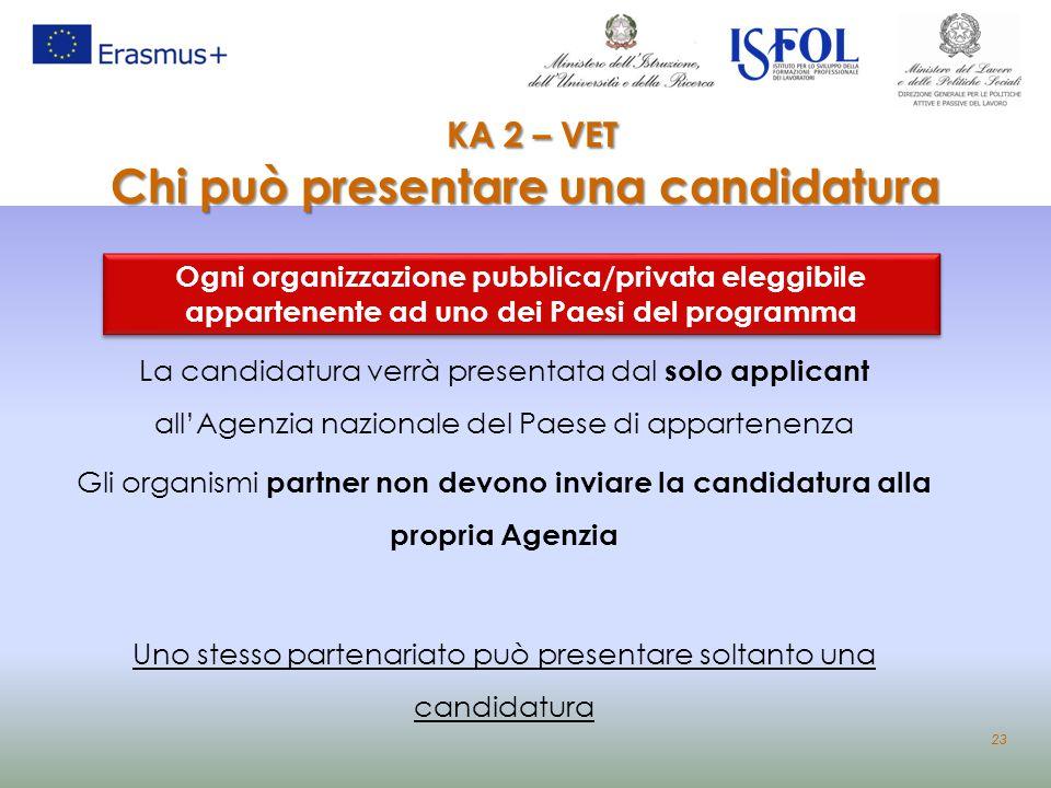 KA 2 – VET Chi può presentare una candidatura KA 2 – VET Chi può presentare una candidatura Ogni organizzazione pubblica/privata eleggibile appartenen