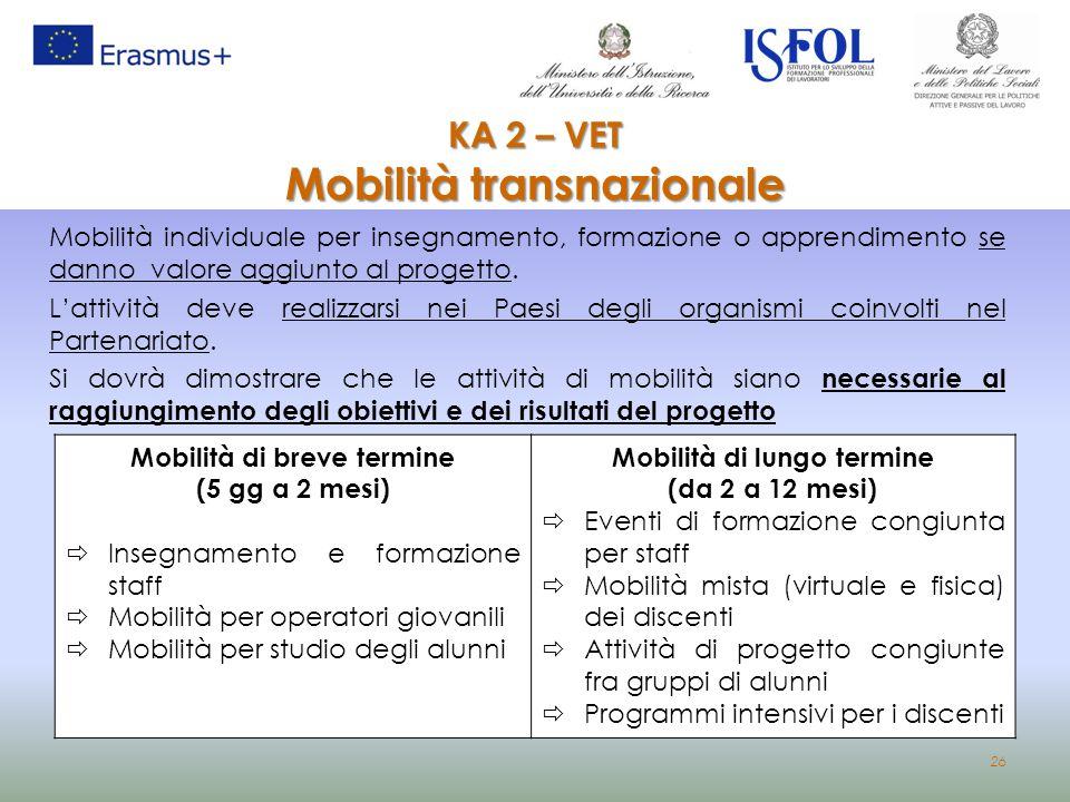 26 KA 2 – VET Mobilità transnazionale KA 2 – VET Mobilità transnazionale Mobilità individuale per insegnamento, formazione o apprendimento se danno va
