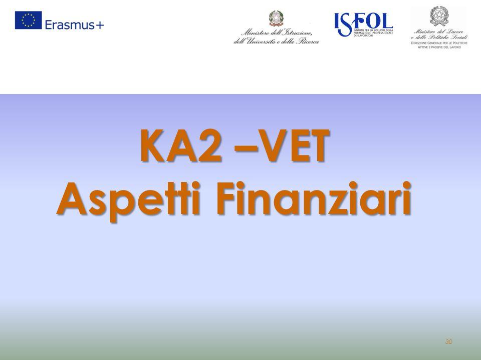 30 KA2 –VET Aspetti Finanziari