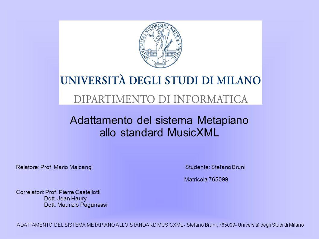 Adattamento del sistema Metapiano allo standard MusicXML Relatore: Prof.