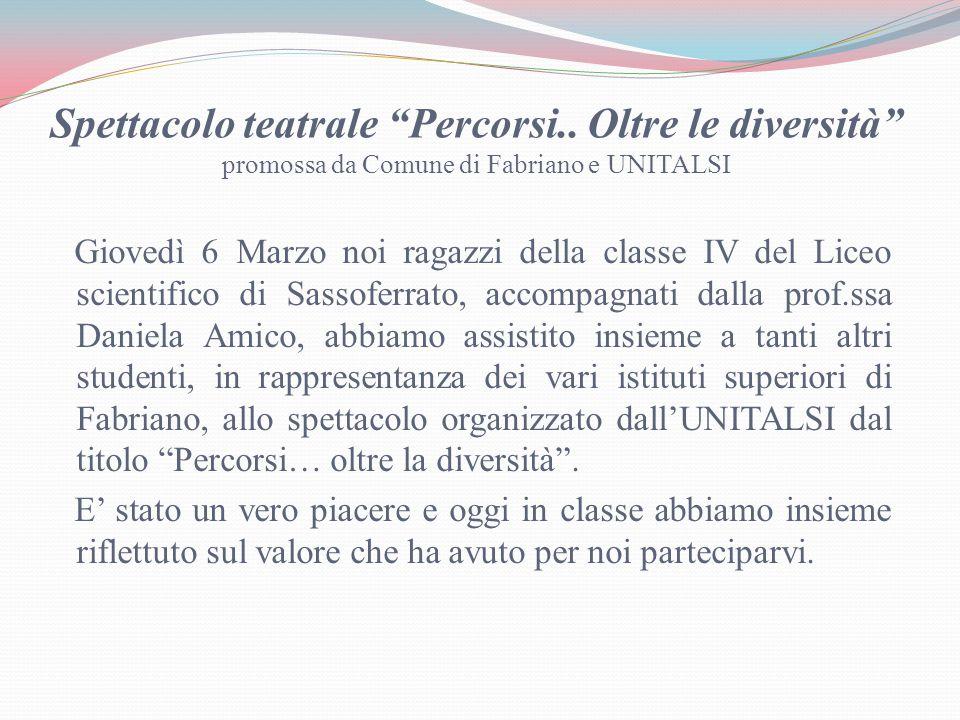 Spettacolo teatrale Percorsi..