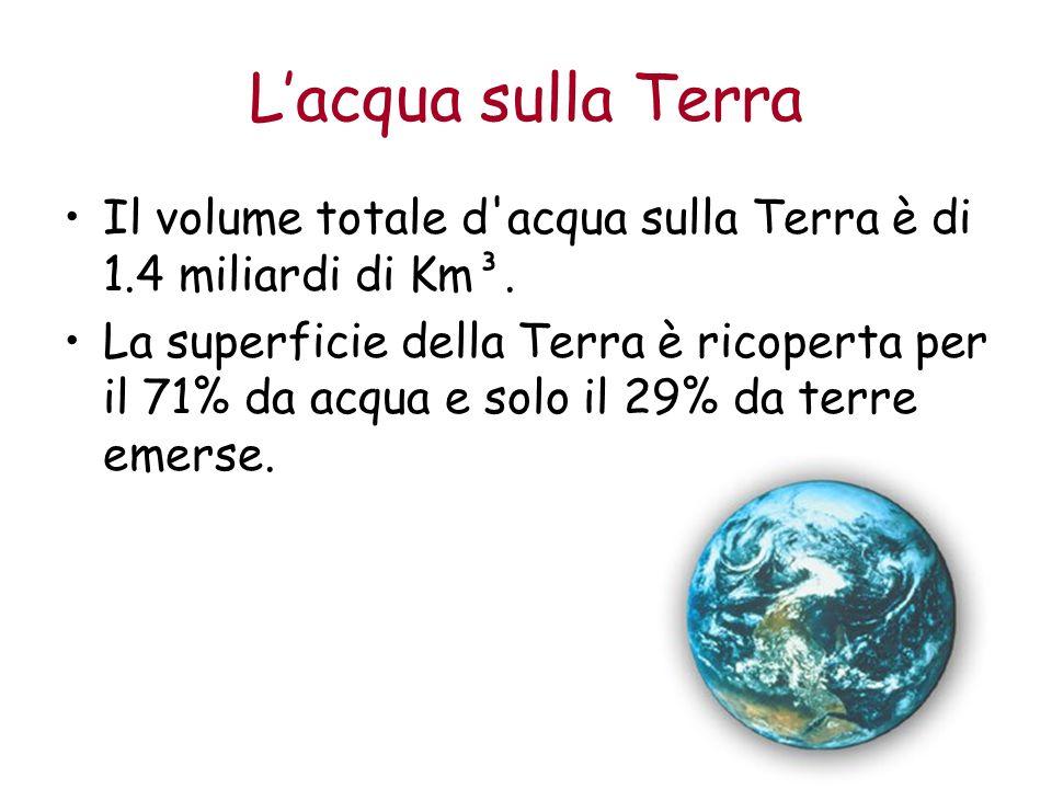 L'acqua sulla Terra Il volume totale d'acqua sulla Terra è di 1.4 miliardi di Km³. La superficie della Terra è ricoperta per il 71% da acqua e solo il