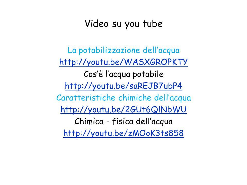 Video su you tube La potabilizzazione dell'acqua http://youtu.be/WASXGROPKTY Cos'è l'acqua potabile http://youtu.be/saREJB7ubP4 Caratteristiche chimiche dell'acqua http://youtu.be/2GUt6QlNbWU Chimica - fisica dell'acqua http://youtu.be/zMOoK3ts858