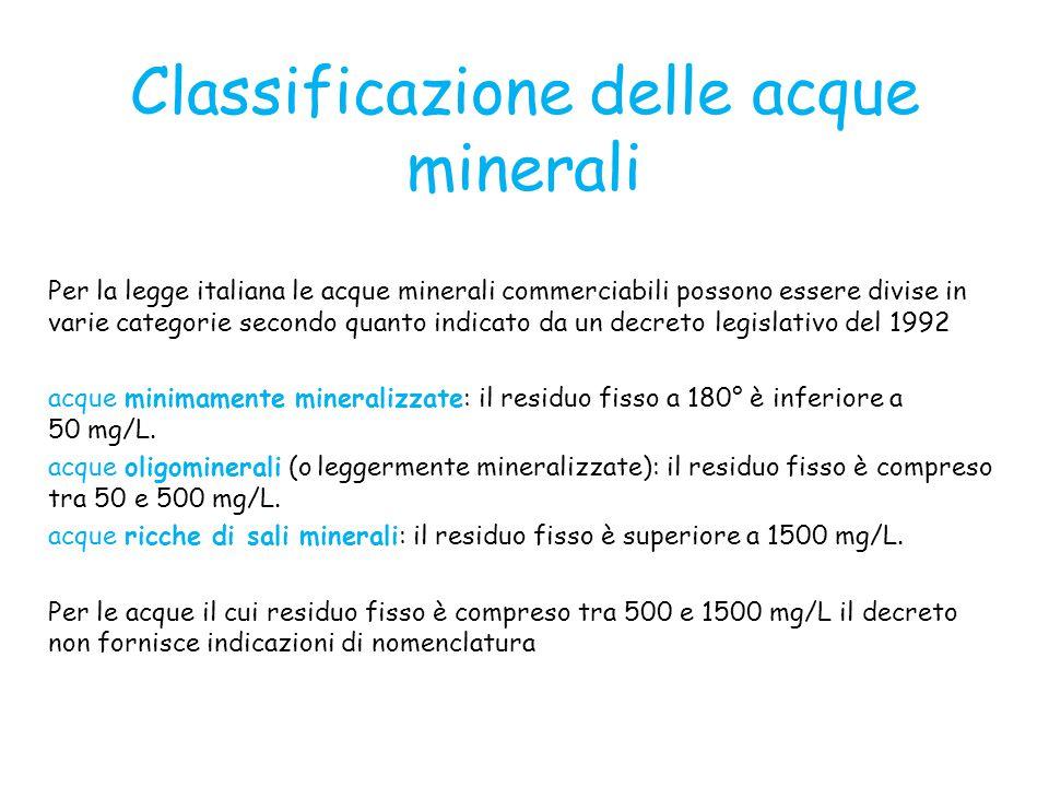 Classificazione delle acque minerali Per la legge italiana le acque minerali commerciabili possono essere divise in varie categorie secondo quanto ind