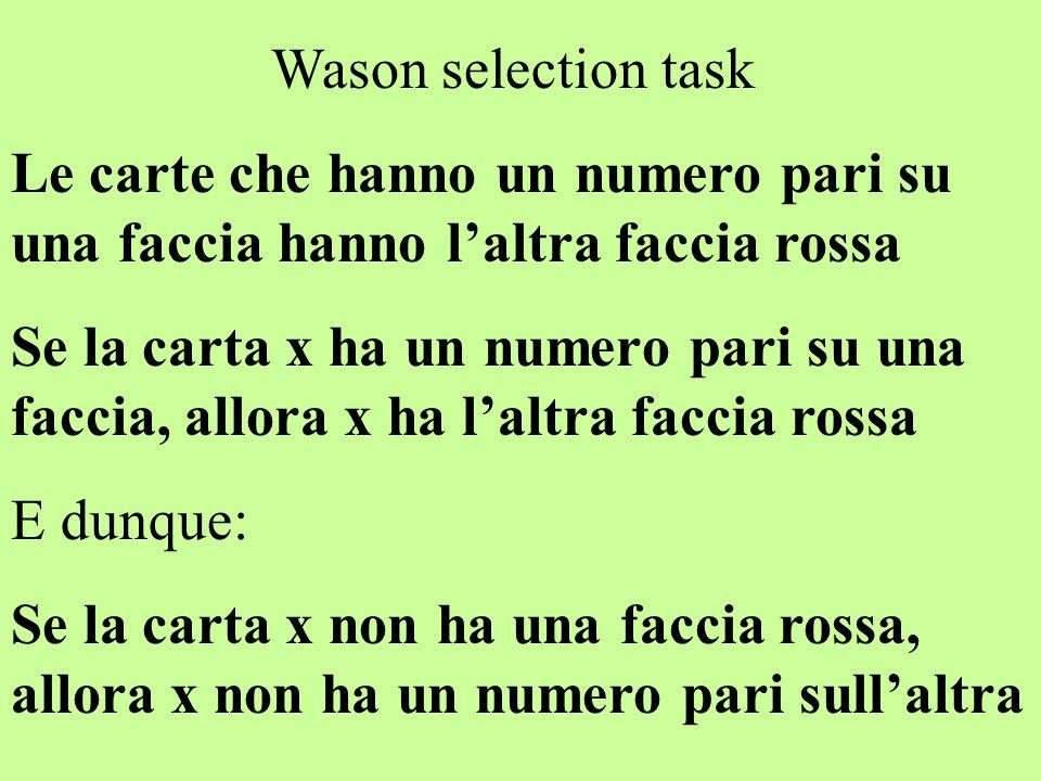 Wason selection task Le carte che hanno un numero pari su una faccia hanno l'altra faccia rossa Se la carta x ha un numero pari su una faccia, allora