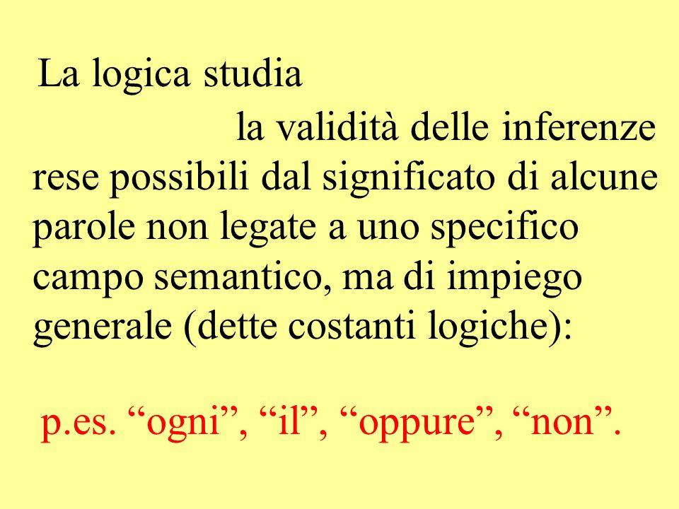 La logica studia la validità delle inferenze rese possibili dal significato di alcune parole non legate a uno specifico campo semantico, ma di impiego