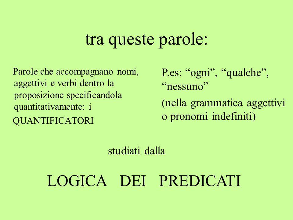 """tra queste parole: Parole che accompagnano nomi, aggettivi e verbi dentro la proposizione specificandola quantitativamente: i QUANTIFICATORI P.es: """"og"""