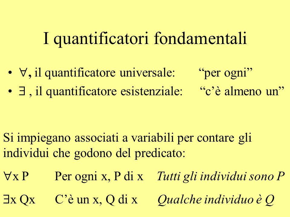 """I quantificatori fondamentali , il quantificatore universale: """"per ogni"""" , il quantificatore esistenziale: """"c'è almeno un"""" Si impiegano associati a"""