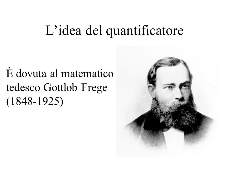 L'idea del quantificatore È dovuta al matematico tedesco Gottlob Frege (1848-1925)