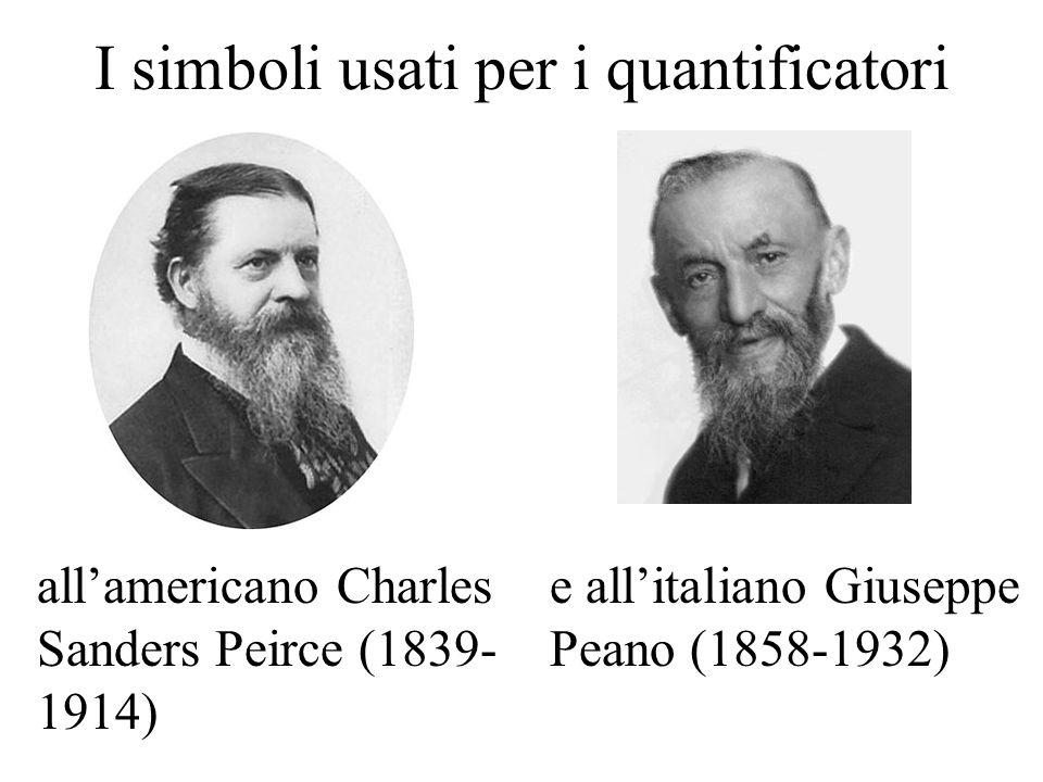 I simboli usati per i quantificatori all'americano Charles Sanders Peirce (1839- 1914) e all'italiano Giuseppe Peano (1858-1932)