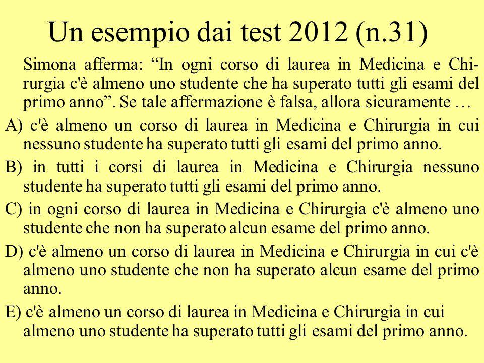 """Un esempio dai test 2012 (n.31) Simona afferma: """"In ogni corso di laurea in Medicina e Chi- rurgia c'è almeno uno studente che ha superato tutti gli e"""