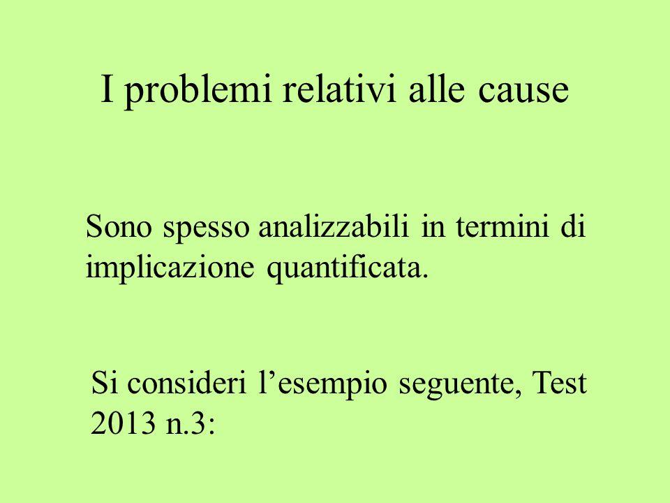 I problemi relativi alle cause Sono spesso analizzabili in termini di implicazione quantificata. Si consideri l'esempio seguente, Test 2013 n.3: