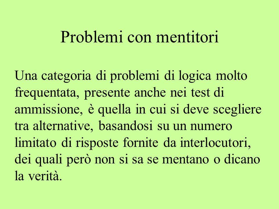 Problemi con mentitori Una categoria di problemi di logica molto frequentata, presente anche nei test di ammissione, è quella in cui si deve scegliere