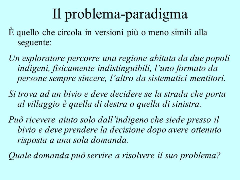 Il problema-paradigma È quello che circola in versioni più o meno simili alla seguente: Un esploratore percorre una regione abitata da due popoli indi