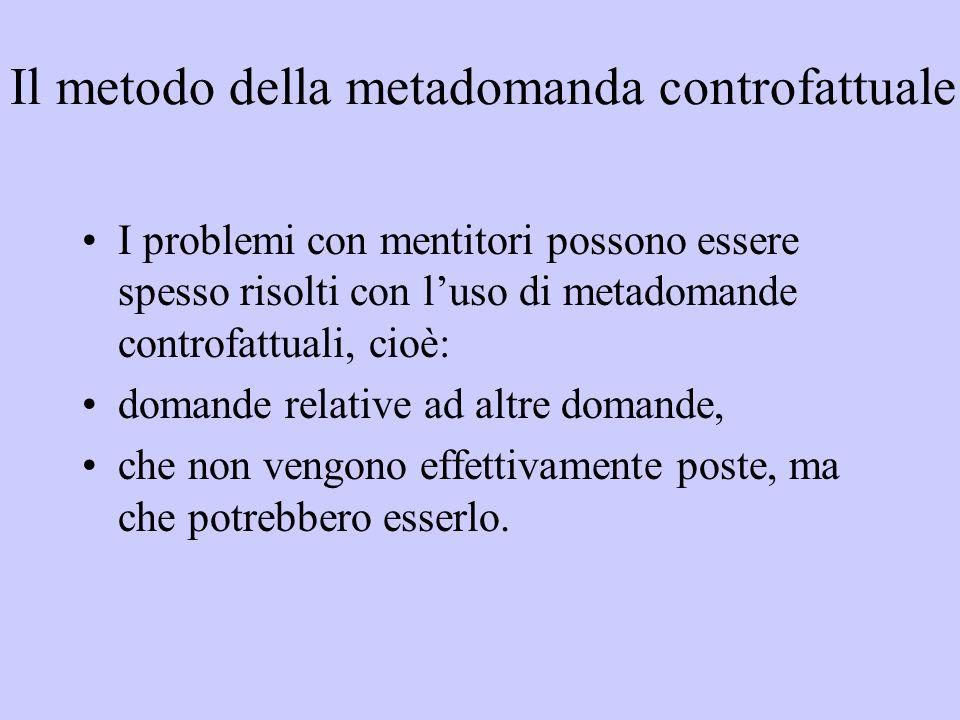Il metodo della metadomanda controfattuale I problemi con mentitori possono essere spesso risolti con l'uso di metadomande controfattuali, cioè: doman
