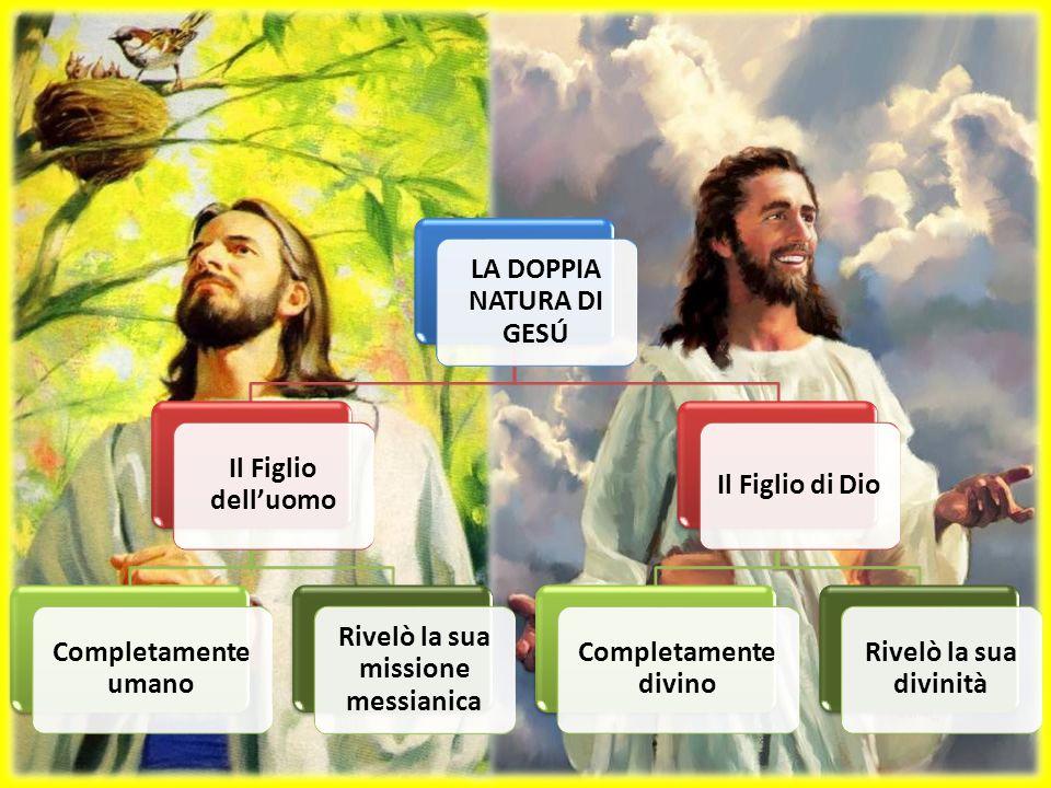 LA DOPPIA NATURA DI GESÚ Il Figlio dell'uomo Completamente umano Rivelò la sua missione messianica Il Figlio di Dio Completamente divino Rivelò la sua divinità
