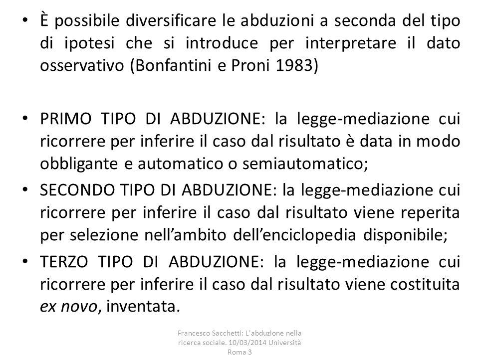 È possibile diversificare le abduzioni a seconda del tipo di ipotesi che si introduce per interpretare il dato osservativo (Bonfantini e Proni 1983) P