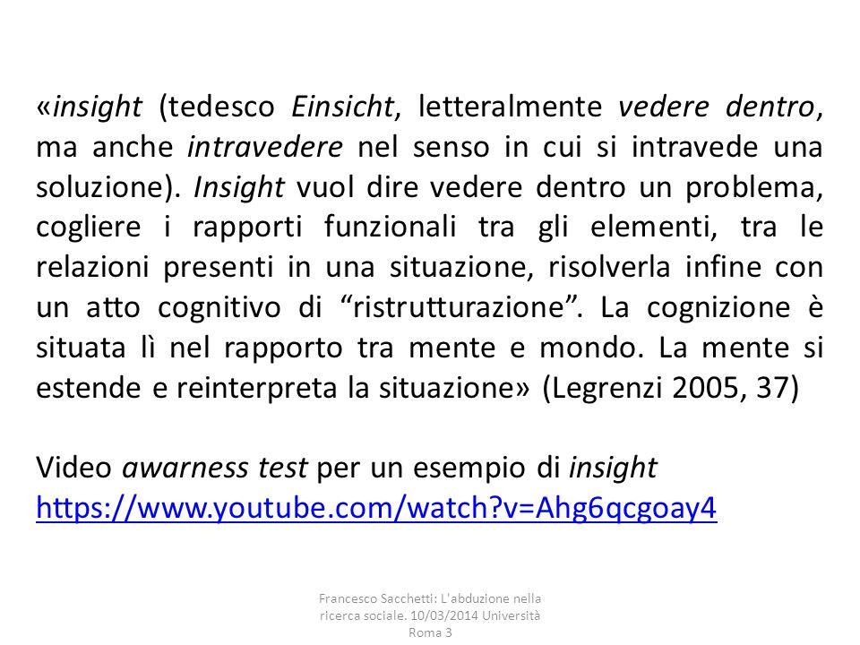 Francesco Sacchetti: L'abduzione nella ricerca sociale. 10/03/2014 Università Roma 3 «insight (tedesco Einsicht, letteralmente vedere dentro, ma anche