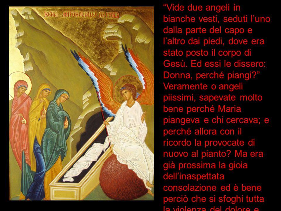 """""""Vide due angeli in bianche vesti, seduti l'uno dalla parte del capo e l'altro dai piedi, dove era stato posto il corpo di Gesù. Ed essi le dissero: D"""