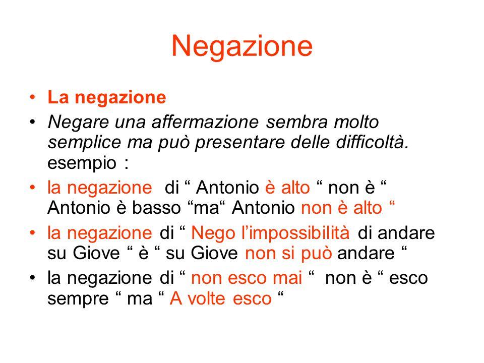 """Negazione La negazione Negare una affermazione sembra molto semplice ma può presentare delle difficoltà. esempio : la negazione di """" Antonio è alto """""""
