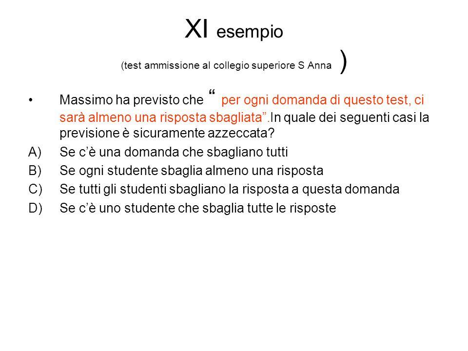 """XI esempio (test ammissione al collegio superiore S Anna ) Massimo ha previsto che """" per ogni domanda di questo test, ci sarà almeno una risposta sbag"""