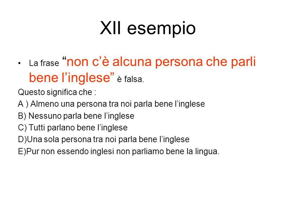 """XII esempio La frase """"non c'è alcuna persona che parli bene l'inglese"""" è falsa. Questo significa che : A ) Almeno una persona tra noi parla bene l'ing"""