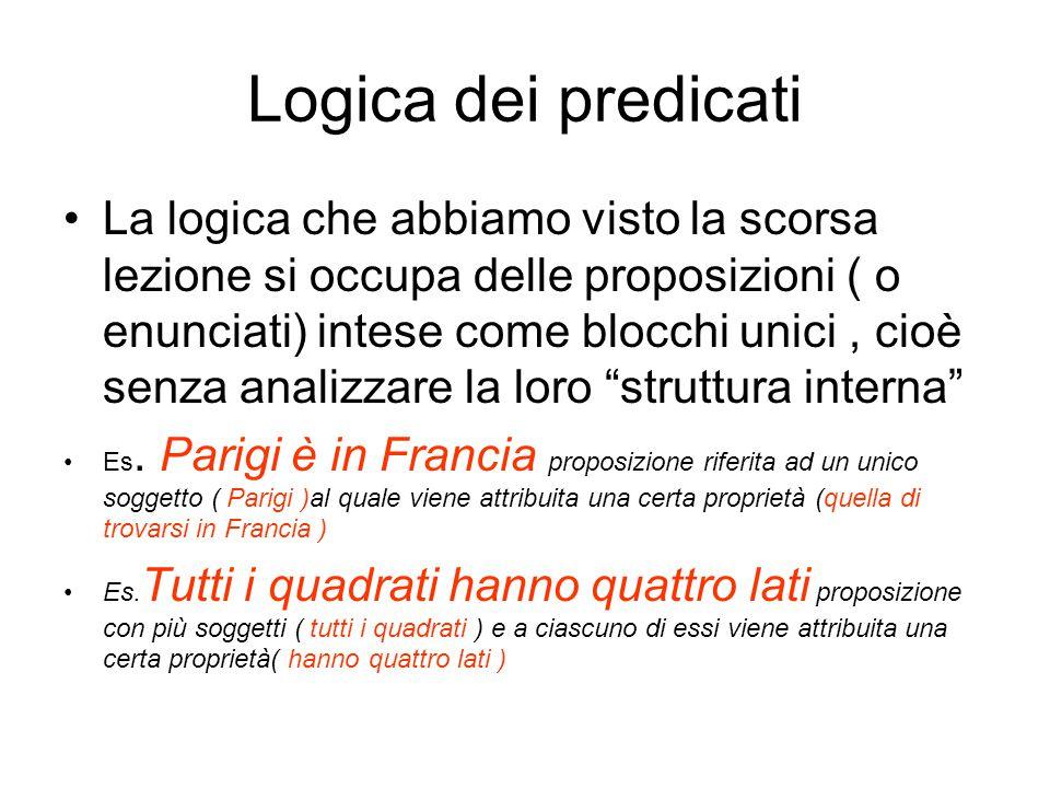 Logica dei predicati La logica che abbiamo visto la scorsa lezione si occupa delle proposizioni ( o enunciati) intese come blocchi unici, cioè senza a