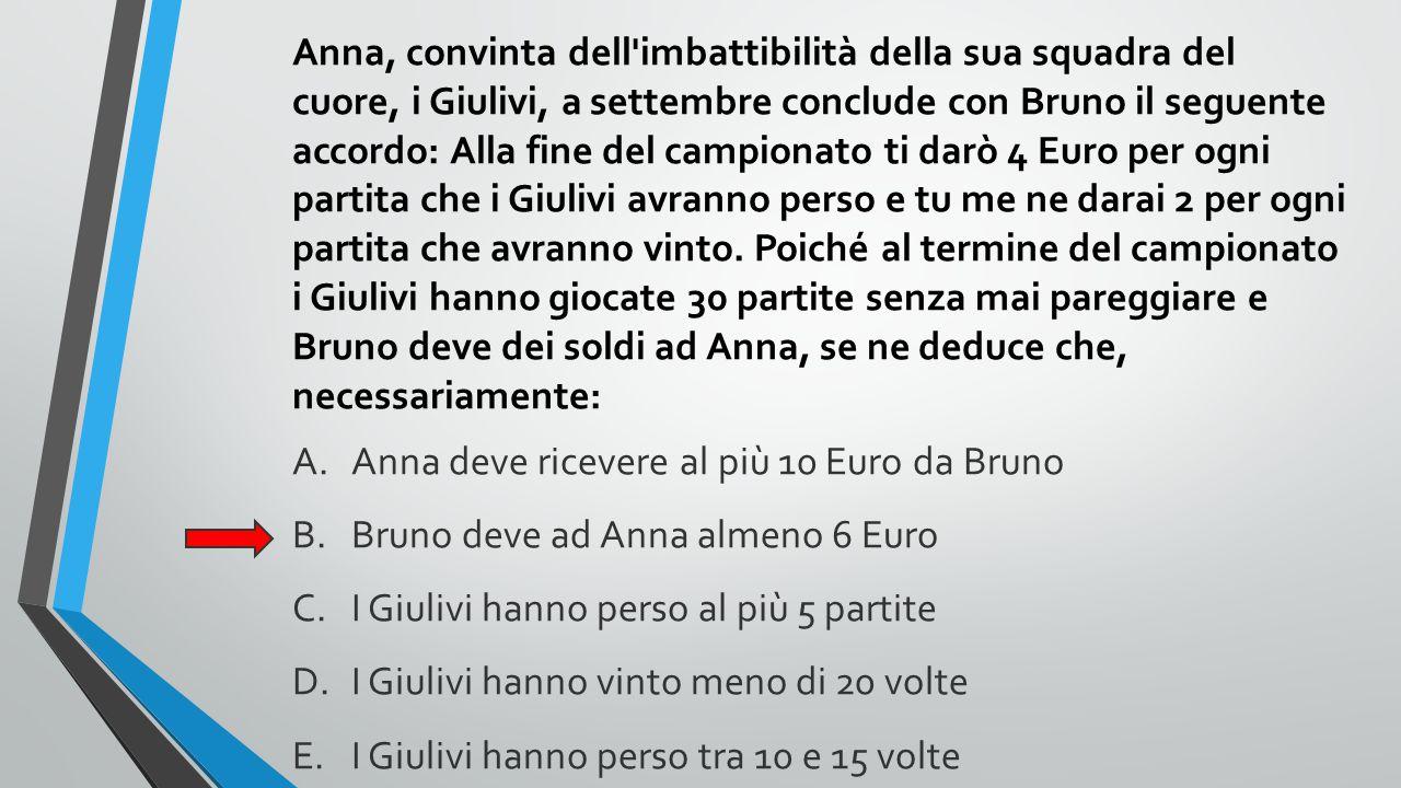 Anna, convinta dell'imbattibilità della sua squadra del cuore, i Giulivi, a settembre conclude con Bruno il seguente accordo: Alla fine del campionato