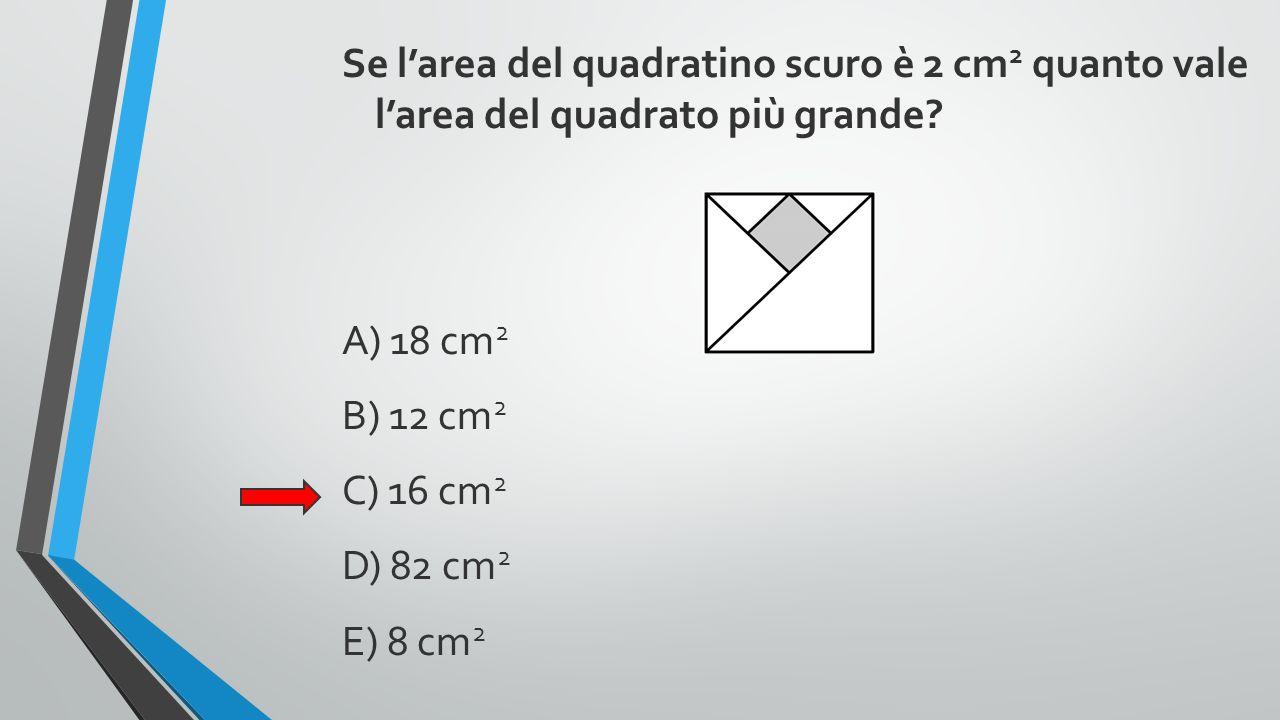 Se l'area del quadratino scuro è 2 cm 2 quanto vale l'area del quadrato più grande? A) 18 cm 2 B) 12 cm 2 C) 16 cm 2 D) 82 cm 2 E) 8 cm 2