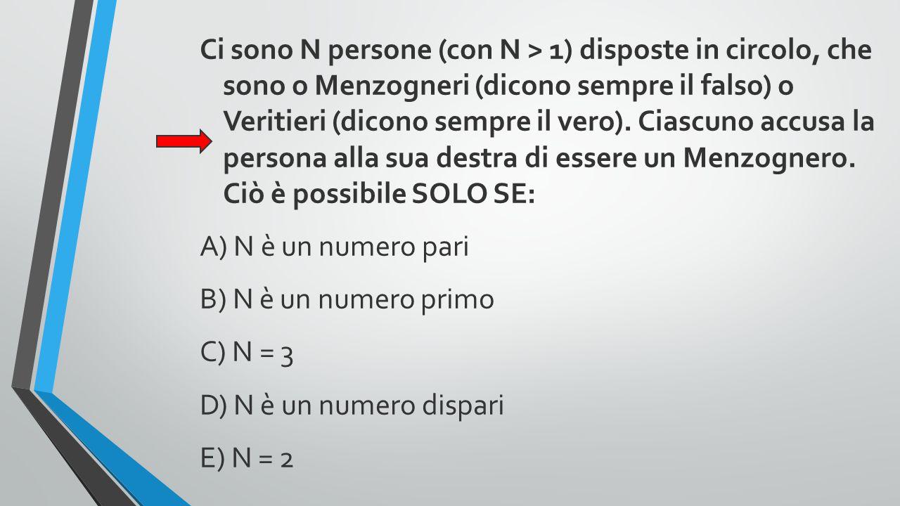 Ci sono N persone (con N > 1) disposte in circolo, che sono o Menzogneri (dicono sempre il falso) o Veritieri (dicono sempre il vero). Ciascuno accusa