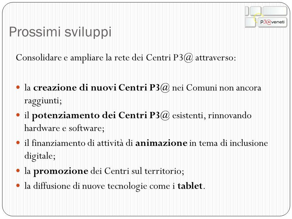 Prossimi sviluppi Consolidare e ampliare la rete dei Centri P3@ attraverso: la creazione di nuovi Centri P3@ nei Comuni non ancora raggiunti; il poten