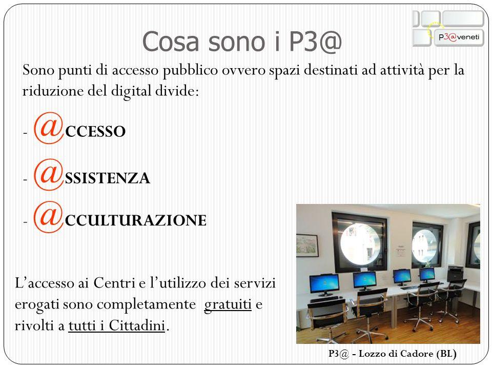 Cosa sono i P3@ Sono punti di accesso pubblico ovvero spazi destinati ad attività per la riduzione del digital divide: - @ CCESSO - @ SSISTENZA - @ CC