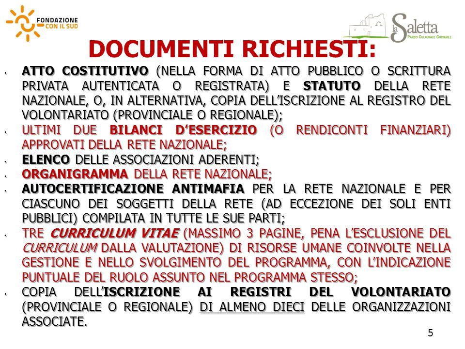 DOCUMENTI RICHIESTI: ATTO COSTITUTIVO (NELLA FORMA DI ATTO PUBBLICO O SCRITTURA PRIVATA AUTENTICATA O REGISTRATA) E STATUTO DELLA RETE NAZIONALE, O, IN ALTERNATIVA, COPIA DELL'ISCRIZIONE AL REGISTRO DEL VOLONTARIATO (PROVINCIALE O REGIONALE); ATTO COSTITUTIVO (NELLA FORMA DI ATTO PUBBLICO O SCRITTURA PRIVATA AUTENTICATA O REGISTRATA) E STATUTO DELLA RETE NAZIONALE, O, IN ALTERNATIVA, COPIA DELL'ISCRIZIONE AL REGISTRO DEL VOLONTARIATO (PROVINCIALE O REGIONALE); ULTIMI DUE BILANCI D'ESERCIZIO (O RENDICONTI FINANZIARI) APPROVATI DELLA RETE NAZIONALE; ULTIMI DUE BILANCI D'ESERCIZIO (O RENDICONTI FINANZIARI) APPROVATI DELLA RETE NAZIONALE; ELENCO DELLE ASSOCIAZIONI ADERENTI; ELENCO DELLE ASSOCIAZIONI ADERENTI; ORGANIGRAMMA DELLA RETE NAZIONALE; ORGANIGRAMMA DELLA RETE NAZIONALE; AUTOCERTIFICAZIONE ANTIMAFIA PER LA RETE NAZIONALE E PER CIASCUNO DEI SOGGETTI DELLA RETE (AD ECCEZIONE DEI SOLI ENTI PUBBLICI) COMPILATA IN TUTTE LE SUE PARTI; AUTOCERTIFICAZIONE ANTIMAFIA PER LA RETE NAZIONALE E PER CIASCUNO DEI SOGGETTI DELLA RETE (AD ECCEZIONE DEI SOLI ENTI PUBBLICI) COMPILATA IN TUTTE LE SUE PARTI; TRE CURRICULUM VITAE (MASSIMO 3 PAGINE, PENA L'ESCLUSIONE DEL CURRICULUM DALLA VALUTAZIONE) DI RISORSE UMANE COINVOLTE NELLA GESTIONE E NELLO SVOLGIMENTO DEL PROGRAMMA, CON L'INDICAZIONE PUNTUALE DEL RUOLO ASSUNTO NEL PROGRAMMA STESSO; TRE CURRICULUM VITAE (MASSIMO 3 PAGINE, PENA L'ESCLUSIONE DEL CURRICULUM DALLA VALUTAZIONE) DI RISORSE UMANE COINVOLTE NELLA GESTIONE E NELLO SVOLGIMENTO DEL PROGRAMMA, CON L'INDICAZIONE PUNTUALE DEL RUOLO ASSUNTO NEL PROGRAMMA STESSO; COPIA DELL'ISCRIZIONE AI REGISTRI DEL VOLONTARIATO (PROVINCIALE O REGIONALE) DI ALMENO DIECI DELLE ORGANIZZAZIONI ASSOCIATE.