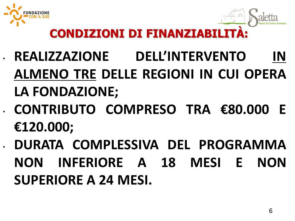 CONDIZIONI DI FINANZIABILITÀ: REALIZZAZIONE DELL'INTERVENTO IN ALMENO TRE DELLE REGIONI IN CUI OPERA LA FONDAZIONE; CONTRIBUTO COMPRESO TRA €80.000 E €120.000; DURATA COMPLESSIVA DEL PROGRAMMA NON INFERIORE A 18 MESI E NON SUPERIORE A 24 MESI.