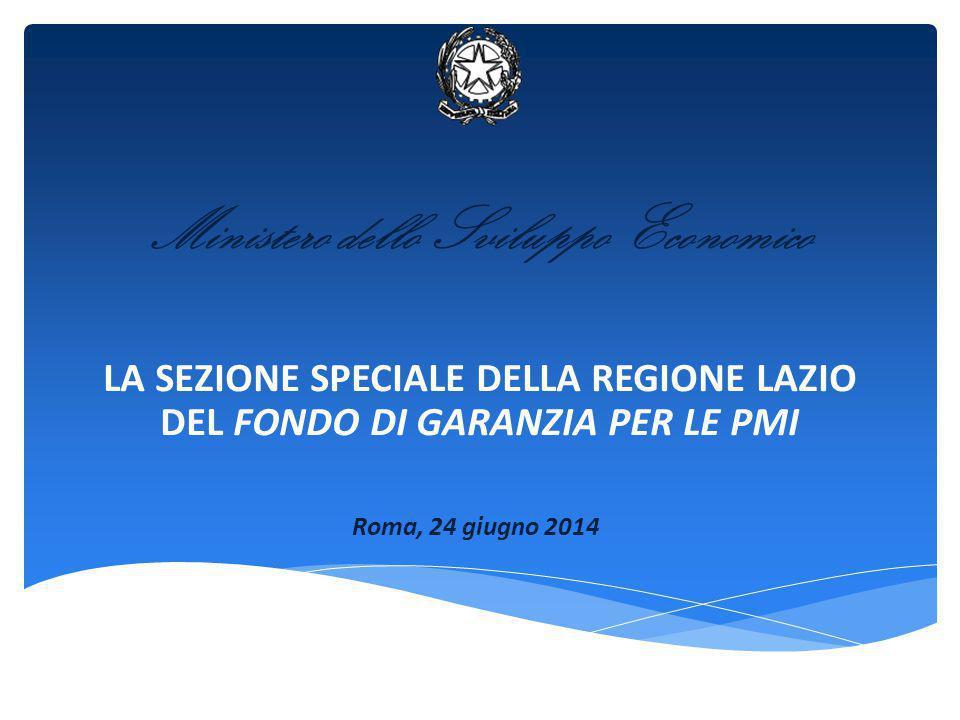 LA SEZIONE SPECIALE DELLA REGIONE LAZIO DEL FONDO DI GARANZIA PER LE PMI Ministero dello Sviluppo Economico Roma, 24 giugno 2014